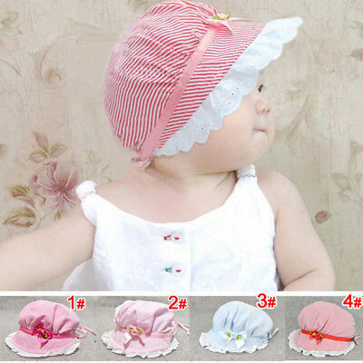 Lovely Sun Hat Stripe Summer Hat Cute Newborn Infant Bonnet Gril Cap New Cotton