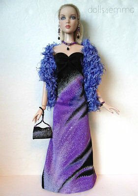 CAMI & Antoinette Doll Clothes OOAK Gown, Boa Purse & Jewelry HM Fashion NO DOLL