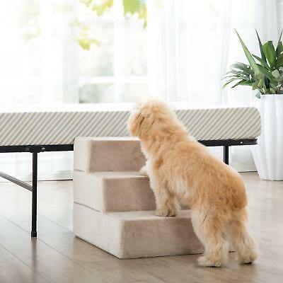 New 3 Steps Dog Stairs for Bed Pet Cat Ramp Ladder with Removable Cover Khaki