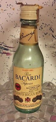 1970's 1/10th Pint Bacardi Glass Bottle