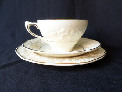 Crown Ducal. Florentine. Trio: Cup, Saucer, and Small Plate. Made In England.