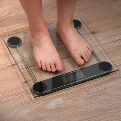 Digital Body Weight Bathroom Scale Tempered Glass and Step-on Technology Black