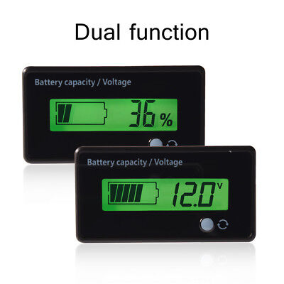 12V LCD Lead Acid Battery Fuel Gauge Indicator Meter waterproof Battery Green