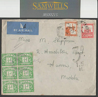 MS215 1937 Palestine to GB. Air Mail/Postage Dues x6. Harrow, Middlesex