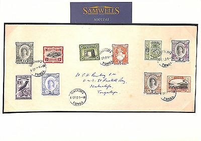 MS1843 1950 TONGA ISSUES 1942-49 SET(9) to 5s High Value Cover Stamps Cat £110+