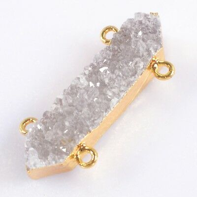 Natural Agate Druzy Geode Connector Gold Plated T045336