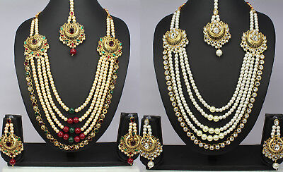 New 5 Strands pearl kundan Polki Indian Jewelry women Necklace Earring tikka set