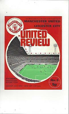 Manchester United v Leicester City 1972/73 Football Programme