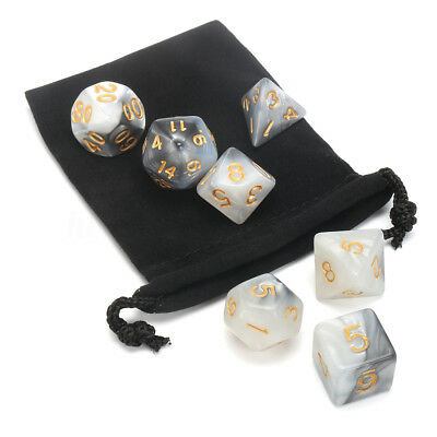 7pcs/Set Polyhedral TRPG Games Dungeons & Dragons Dice D4-D20 Pink With Bag