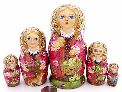 Genuine Russian 5 Matryoshka Nesting Dolls Babushka apples ZOLOTOVSKAYA signed