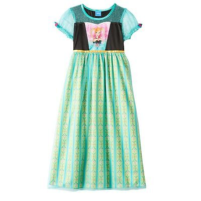 NWT Disney Princess Frozen Anna Girl Dress Up Nightgown Pajama Costume  4 6 8 10