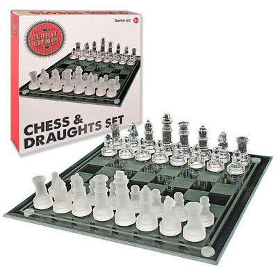 Glass Chess and Draughts Set Frosted and Clear Glass Chess Board and Pieces