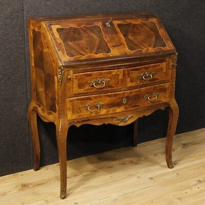 Inlaid bureau furniture secretaire desk dresser wood chest drawers antique style