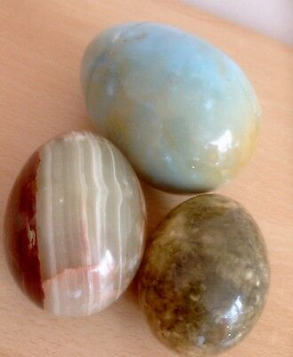 Vintage Marble / Onyx Collectors Eggs 3 Egg Collection