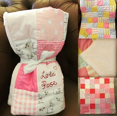 Handmade patchwork quilt blanket baby keepsake personalised choice of fabrics