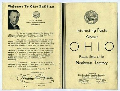 Facts About Ohio Pioneer State Booklet  Great Lakes Exposition 1937 Cleveland