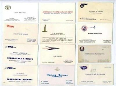 1950's Airline Business Cards Braniff Trans Texas Central EAL AA Pan Am Delta