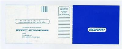 Braniff International SORRY Form Postcard To Cover Cleaning Expense