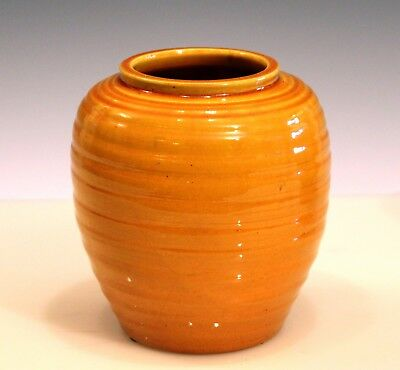 Antique Awaji Studio Art Pottery Ribbed Turned Yellow Arts & Crafts Vase Ikebana