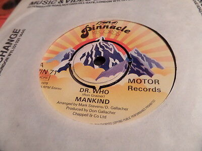 """Mankind Dr Who Theme 7"""" Single 45rpm"""