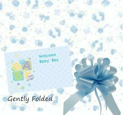 Bow Ribbon Tag Blue Baby Boy Cellophane Gift Wrap Baby Shower