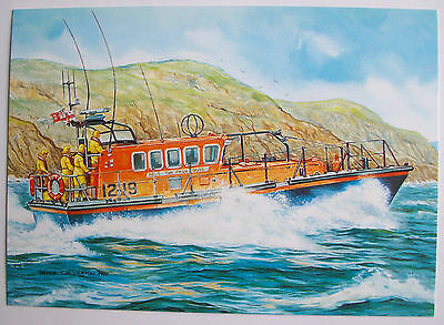 Rnlb 'the Four Boys' Mersey Class Lifeboat ~ Sennen Cove 12-19 ~ Art Ppc