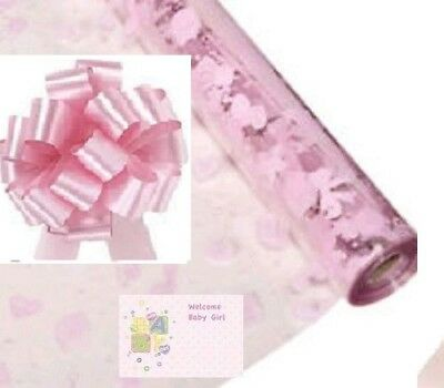 ***new** Pink Baby Girl Cellophane Gift Wrap + Bow & Tag Baby Shower Christening