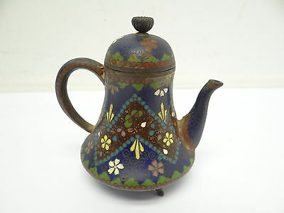 Antique Old Cloisonné Chinese Inlayed Small Teapot Tea Pot Decorative Kitchen