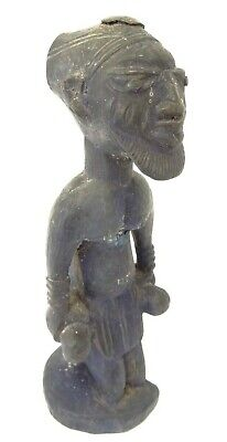 Antique Old Painted Blue African Tribal Art Warrior Carved Wood Carving