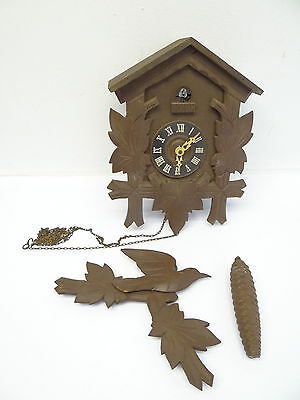 Vintage Used Black Forest Germany Cuckoo Clock MFG Co. Parts Wood Body Finial