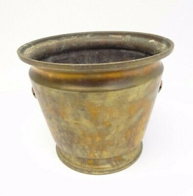 Antique Old Brass & Copper Hammered Decorative Zipper Joint Planter Plant Holder