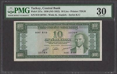 Turkey 1930 (ND 1952) P-157a PMG VF 30   10 Lira