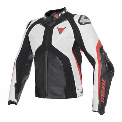 Dainese Super Rider Mens Perforated Leather Jacket Black/White/Fluo Red