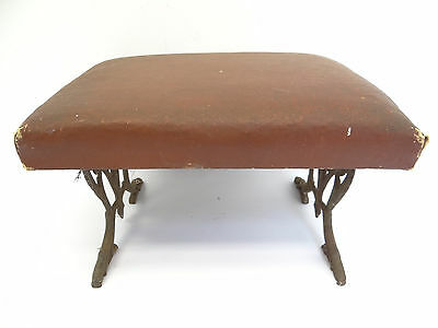 Antique Old Cast Iron Legs Padded Red Footstool Ottoman Foot Stand Furniture