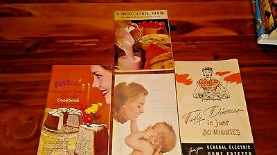 Vintage Advertising cookbook Booklets Solo Waring GE General Electric Johnson's