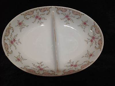"""Harmony House Antoinette 10"""" Oval Divided Vegetable Bowl Pink Paisley & Flowers"""