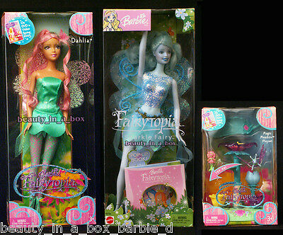 Fairytopia Dahlia Blue Sparkle Fairy Barbie Doll Magic Meadow Mini Playset Lot 3