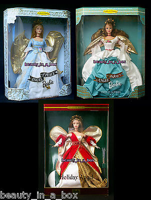 """Angel of Joy Angel of Peace Red Holiday Angel Barbie Doll Lot 3 Christmas """""""