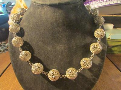 Beautiful Art Deco Rare Quality Long Solid Silver Filigree Necklace