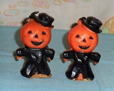 vintage Halloween GURLEY CANDLE LOT OF 2 scarecrow jack-o-lantern head man black