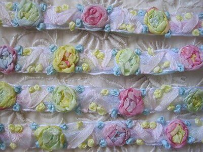 Fabulous Vintage Style  Ribbon Trim With Embroirdered Ribbon Flowers   1 Yd.