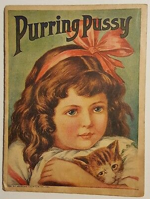 c1915 PURRING PUSSY Children's Color Litho Booklet American Colortype Co.