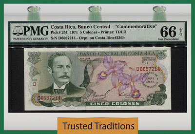 "Tt Pk 241 1971 Costa Rica 5 Colones ""commemorative"" ""150Th Anniv"" Pmg 66 Epq Gem"