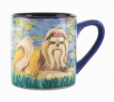 Shih Tzu Coffee Cup Mug Dog 16 oz Bonet Blue Paw Palettes New Puppy