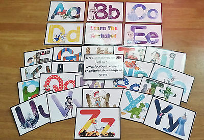 ALPHABET - flash cards- UPPER & LOWER CASE- Characters- EYFS-DISPLAY-CHILDMINDER