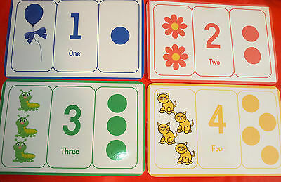 Large Number / Counting/ Colours Flash Cards - Available As A4 Size - Pre-School