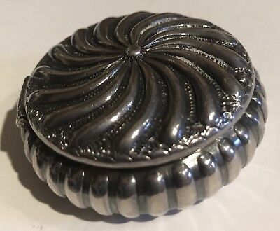 Beautiful Antique Ornate Sterling Silver Round Hinged Lid Pill Box
