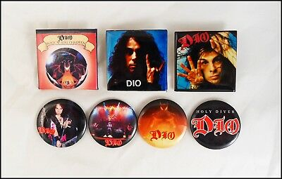 Ronnie James DIO Lot of 7 80's Buttons Pins Holy Diver The Last In Line