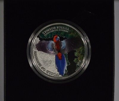2014 Cook Islands $5 3-D Proof Silver Coin - World of Parrots Crimson Rosella