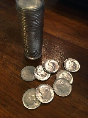 1964 Roosevelt Dime from Roll of 50 ~ BU Uncirculated ~ 90% Silver US Coins